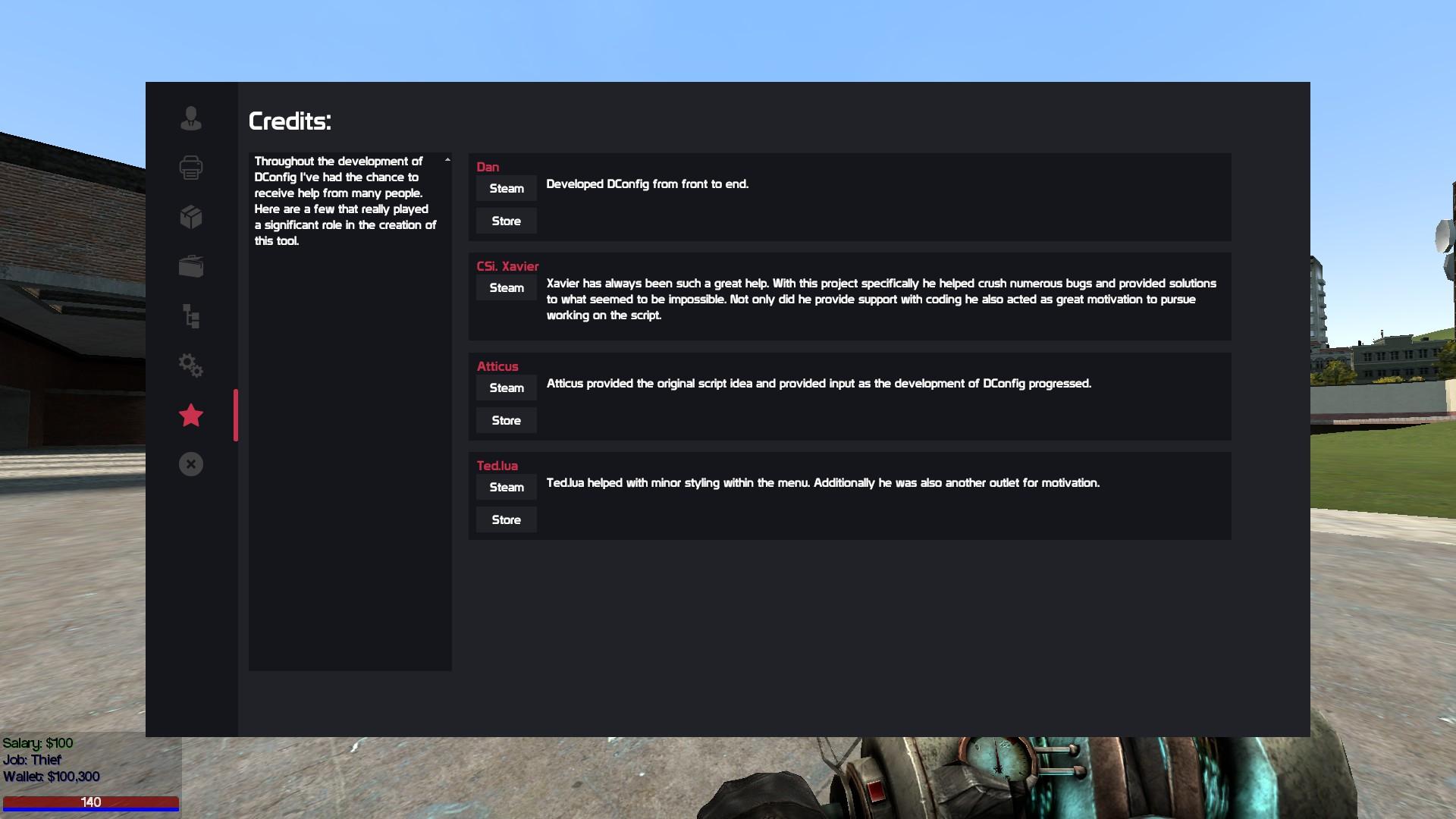 DConfig - In-Game DarkRP Customization ( Jobs, Shipments