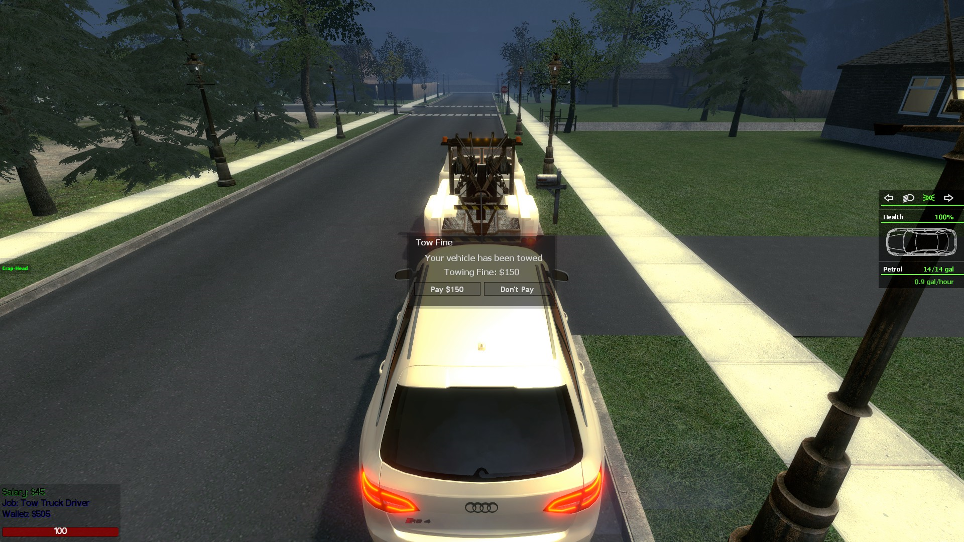 DarkRP Tow Truck Driver Job (Fine System & Realistic Towing)
