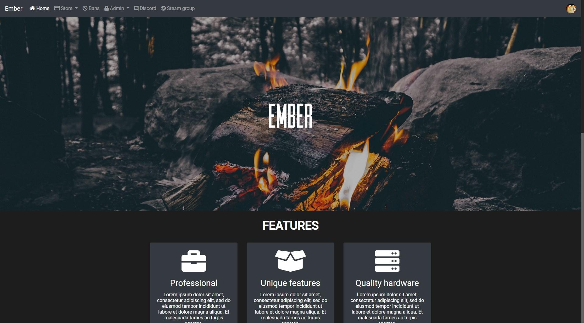 Ember - donation system, bans, loading screen & landing