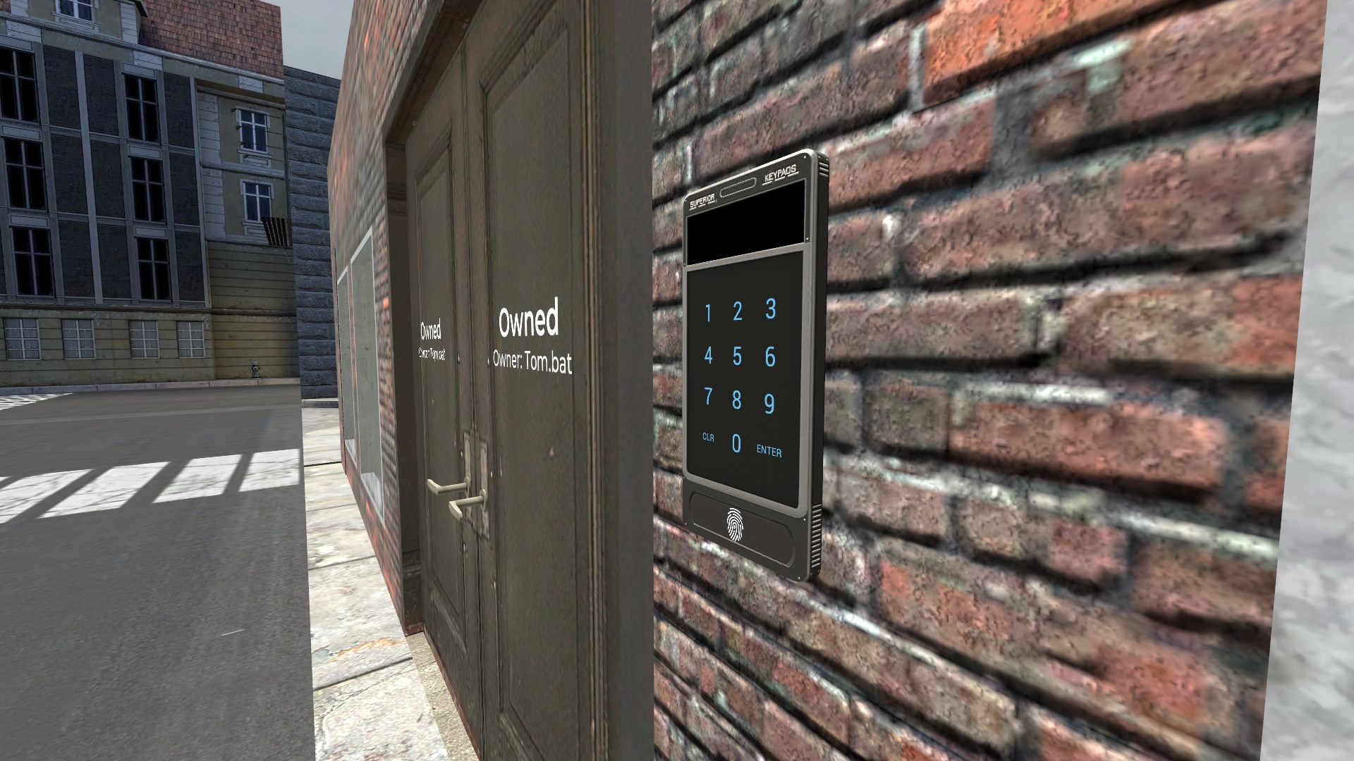 A placed keypad linked to a map door