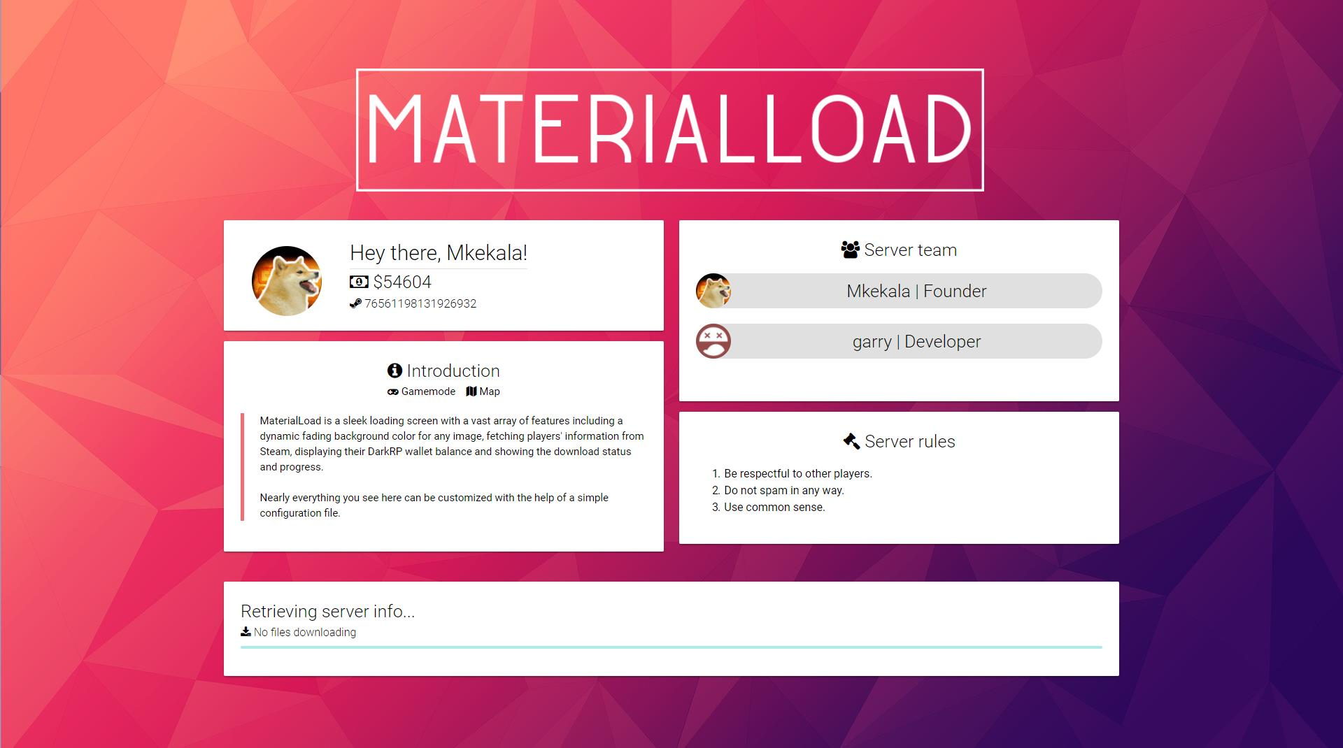 MaterialLoad - the perfect loading screen for your server