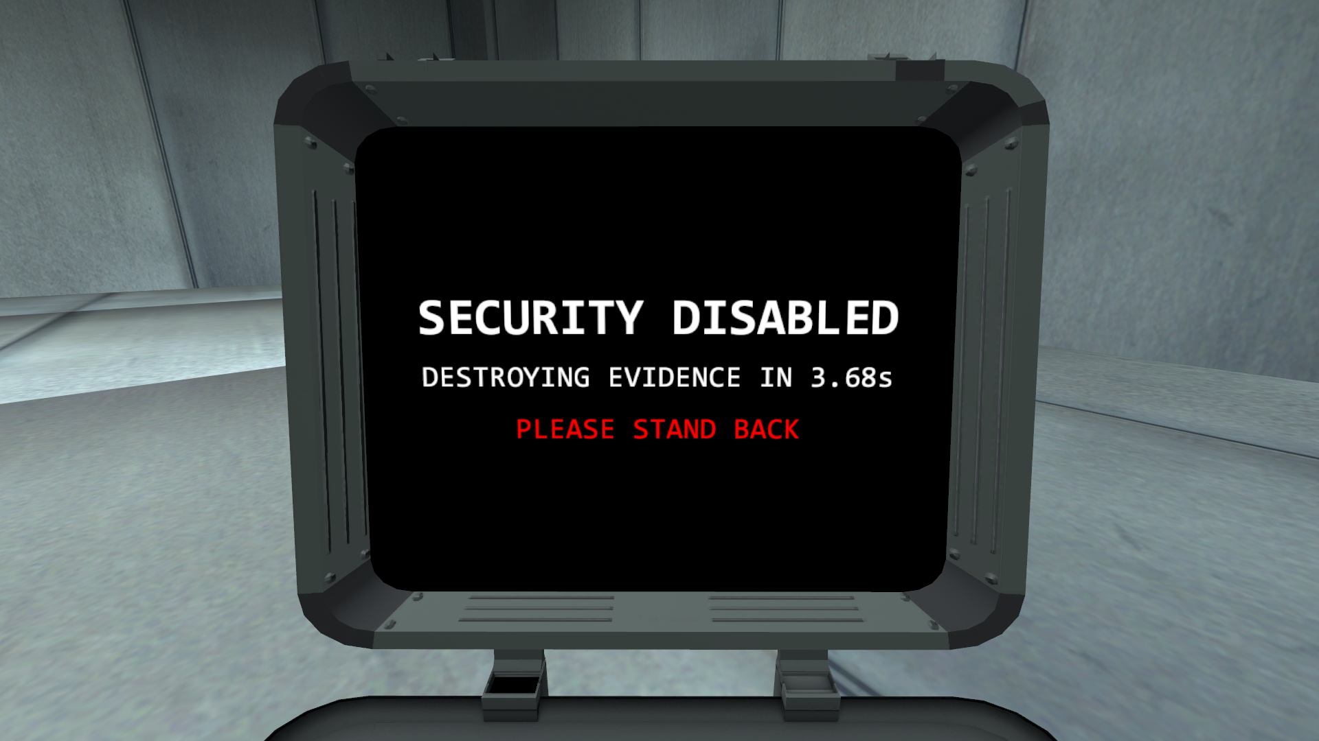 Security hacking completion screen