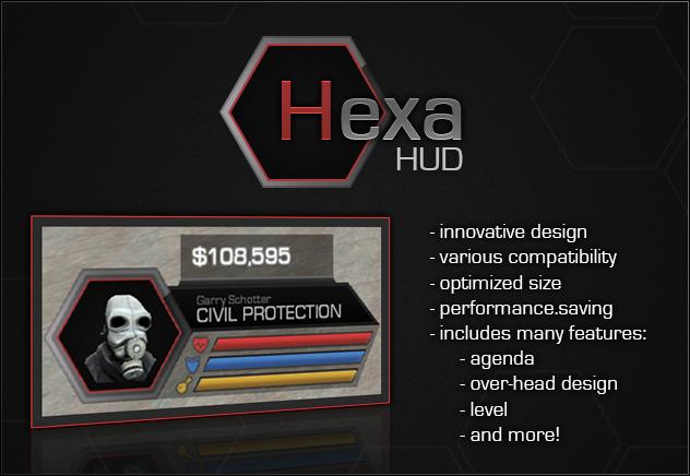 HexaHUD [DarkRP HUD] - Modern Design