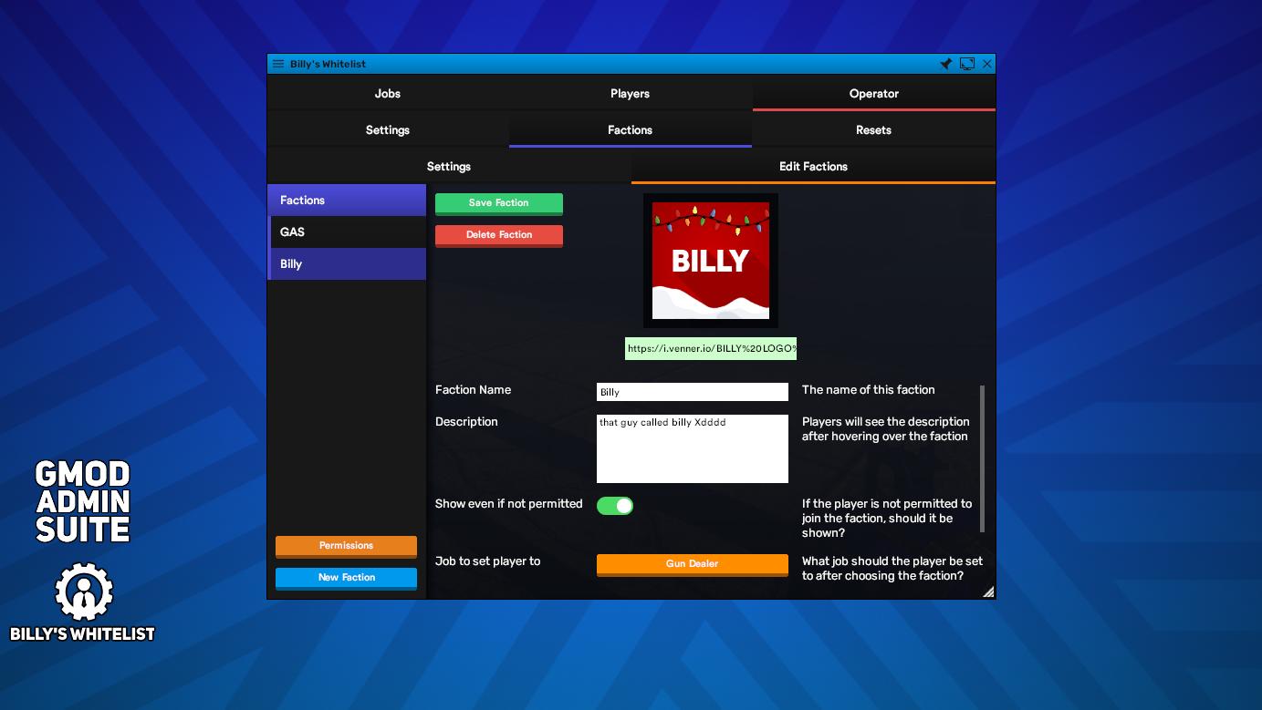 📇 Billy's Job Whitelist (bWhitelist) Job Whitelisting System StarWarsRP  DarkRP